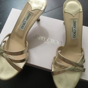 Gold Jimmy Choo Strappy Sandals